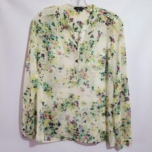 Sweet rain stitch fix chiffon floral print blouse